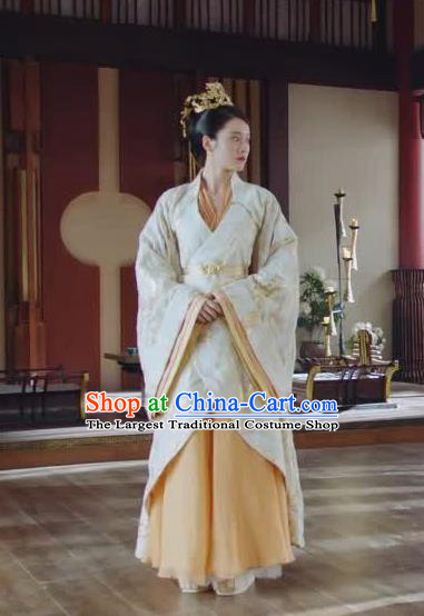 Chinese Ancient Royal Empress Rong Le Historical Drama Princess Silver Costume and Headpiece for Women