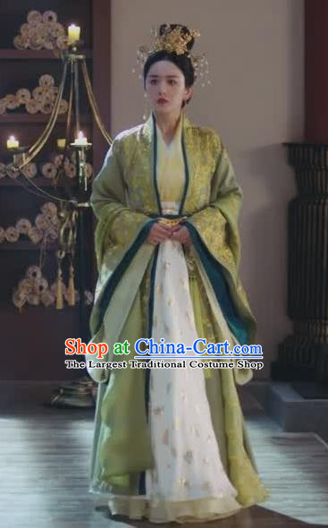Chinese Ancient Royal Empress Rong Le Green Historical Drama Princess Silver Costume and Headpiece for Women
