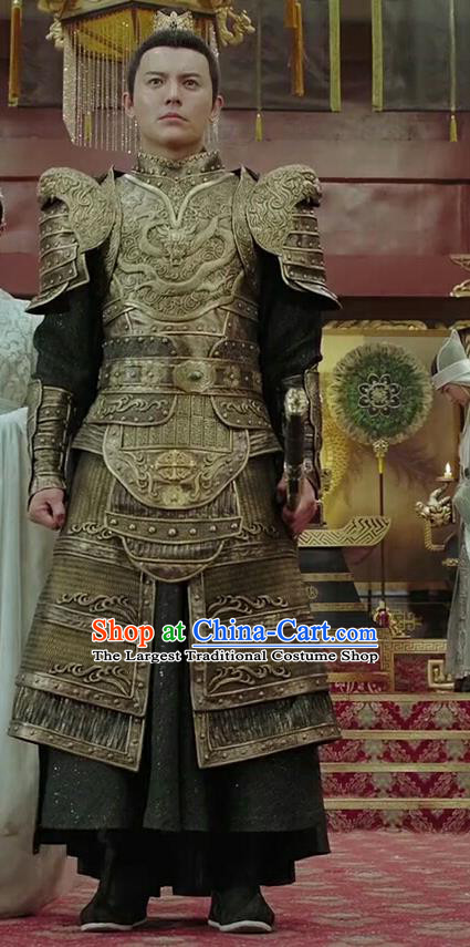 Chinese Drama Legend of the Phoenix Ancient Emperor Pang Tong Armor Historical Costume and Headwear for Men
