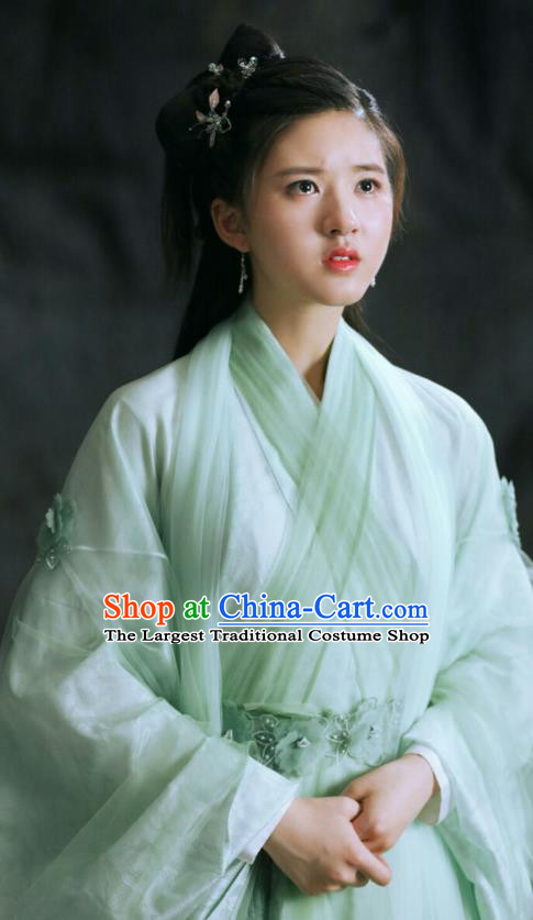 Chinese Historical Drama Love Better Than Immortality Ancient Female Swordsman Chun Hua Costume and Headpiece for Women