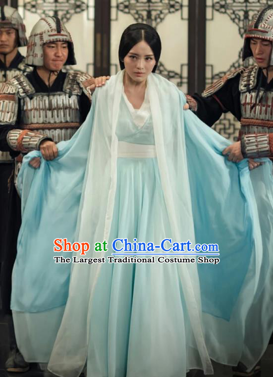 Chinese Ancient Elder Princess Pang Zhen Blue Hanfu Dress Historical Drama Legend of the Phoenix Costume and Headpiece for Women