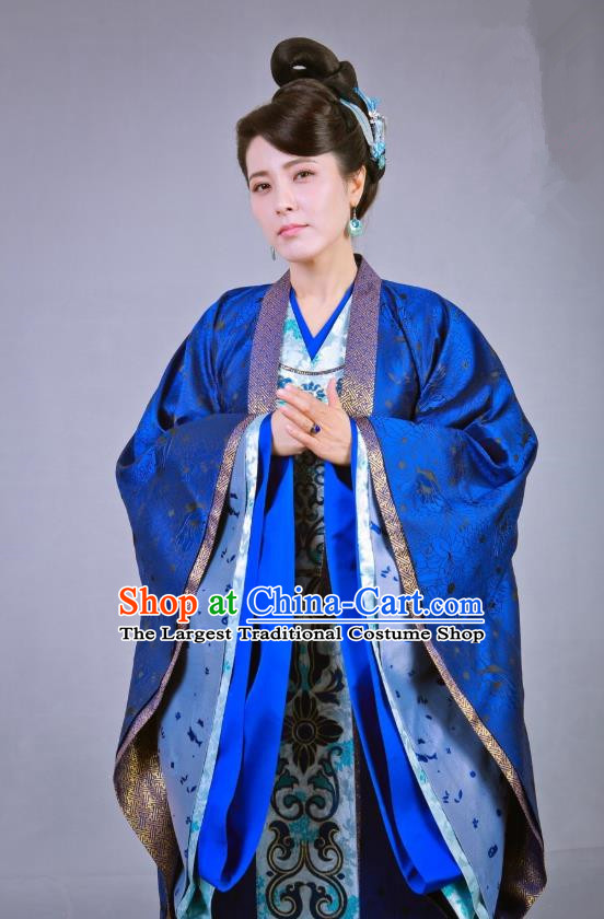 Chinese Historical Drama Swords of Legends Ancient Royal Dame Fu Qingjiao Costume and Headpiece for Women