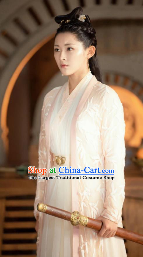 Chinese Drama Love Better Than Immortality Ancient Female Swordsman Feng Caicai Historical Costume and Headpiece for Women