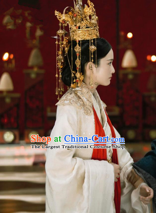 Chinese Ancient Queen Drama Princess Silver Rong Yue Historical Costume and Headpiece for Women