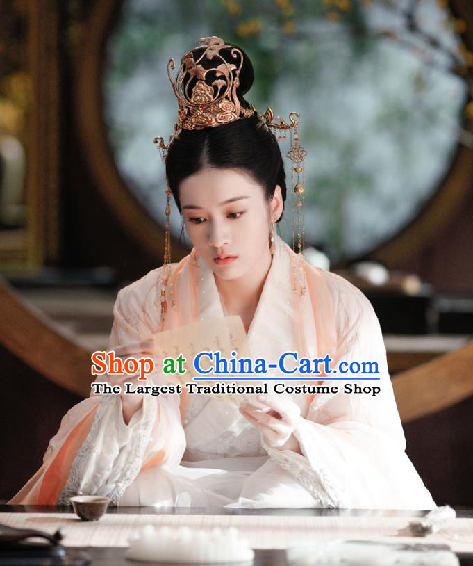 Chinese Drama Princess Silver Ancient Princess Rong Le Historical Costume and Headpiece for Women