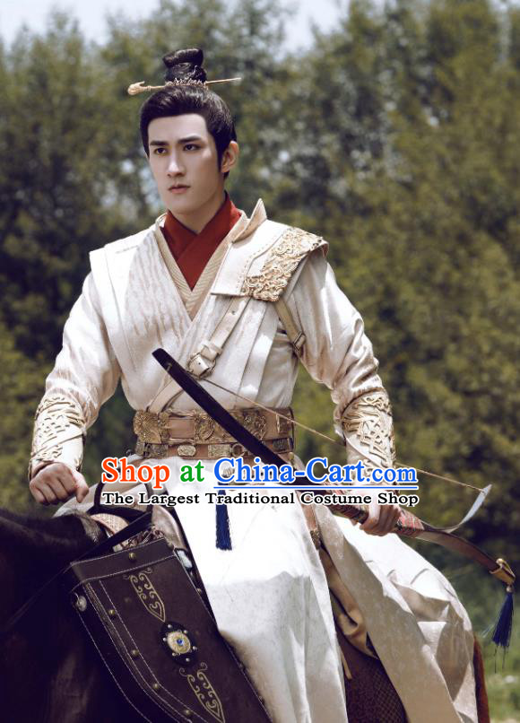 Chinese Drama Princess Silver Ancient Prince Wu You Historical Costume and Headwear for Men