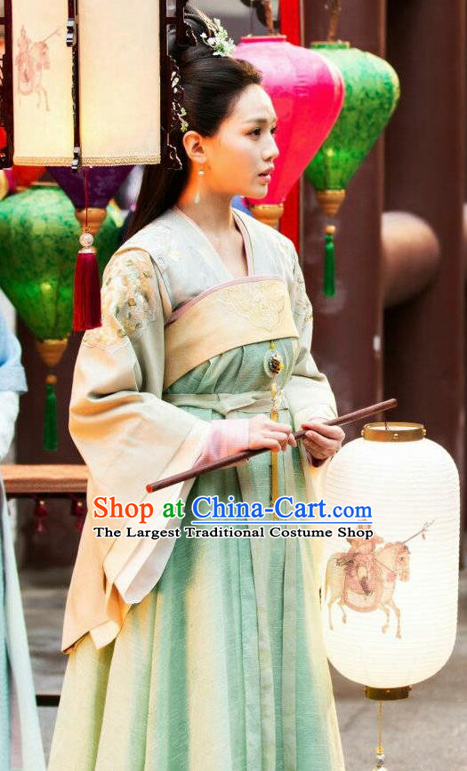 Chinese Ancient Princess Li Mingyue Green Hanfu Dress Historical Drama The Love By Hypnotic Costume and Headpiece for Women