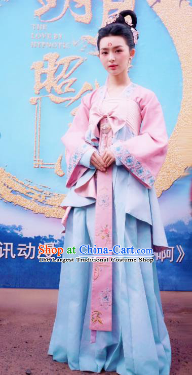 Chinese Ancient Palace Princess Kang Le Dress Historical Drama The Love By Hypnotic Costume and Headpiece for Women