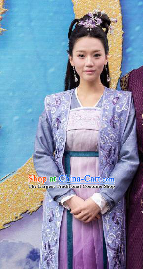 Chinese Ancient Noble Lady Qiao Huixin Hanfu Dress Historical Drama The Love By Hypnotic Costume and Headpiece for Women