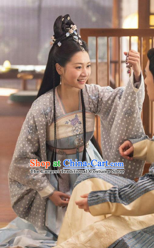 Chinese Ancient Noble Princess Li Mingyue Blue Hanfu Dress Historical Drama The Love By Hypnotic Costume and Headpiece for Women