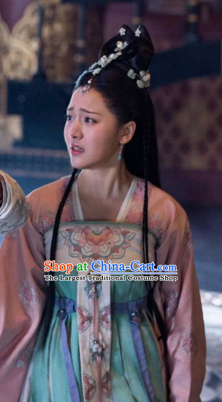 Chinese Ancient Noble Princess Li Mingyue Green Hanfu Dress Historical Drama The Love By Hypnotic Costume and Headpiece for Women