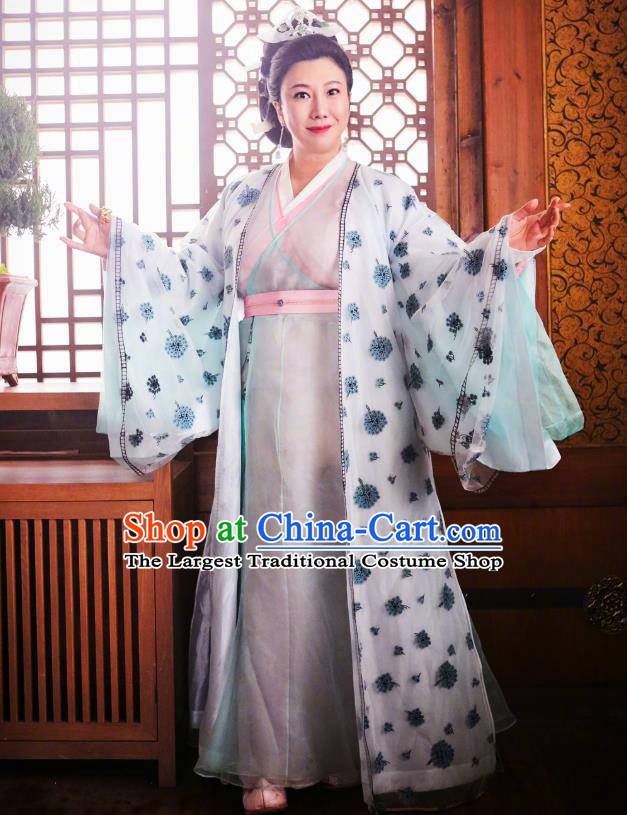 Chinese Ancient Mistress Gong Hanfu Dress Historical Drama Lovely Swords Girl Costume and Headpiece for Women