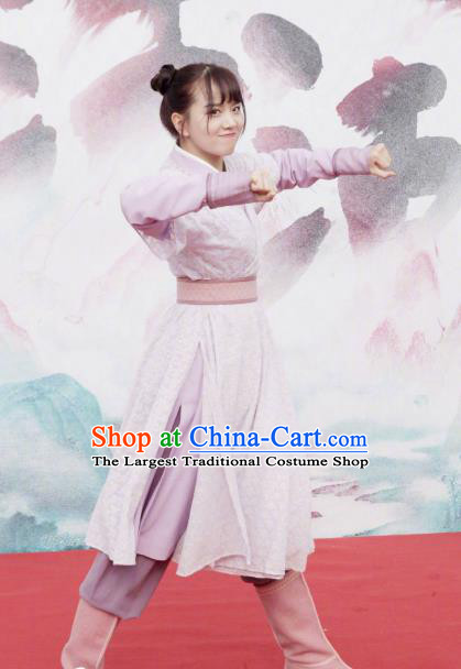 Chinese Ancient Maidservant Mu Yu Er Hanfu Dress Historical Drama Lovely Swords Girl Costume and Headpiece for Women
