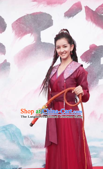 Chinese Ancient Female Swordsman Lu Renyi Hanfu Dress Historical Drama Lovely Swords Girl Costume and Headpiece for Women