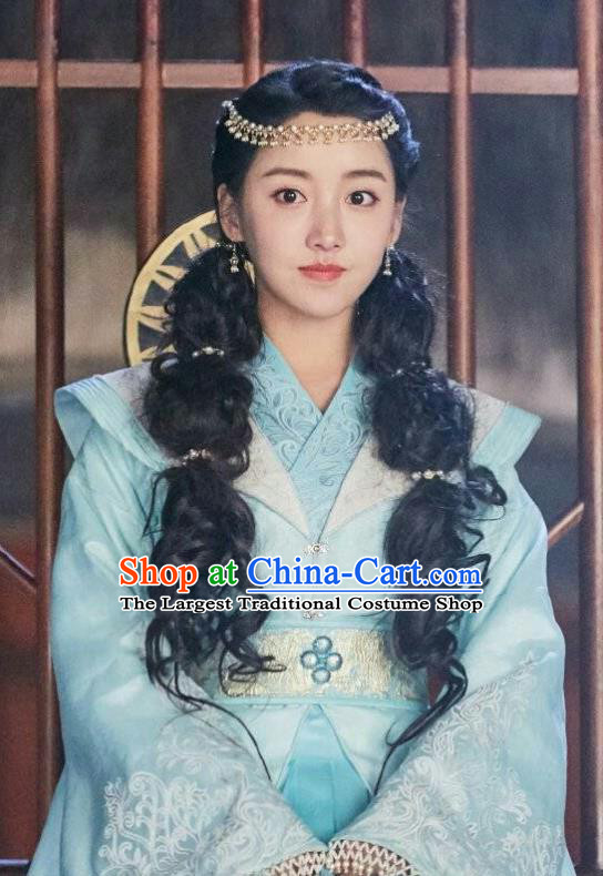 Chinese Ancient Prince Lu Renyi Hanfu Dress Historical Drama Lovely Swords Girl Costume and Headpiece for Women