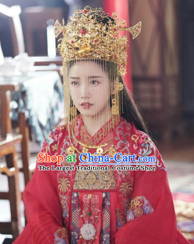 Chinese Ancient Prince Yu Shengyou Wedding Hanfu Dress Historical Drama Lovely Swords Girl Costume and Headpiece for Women