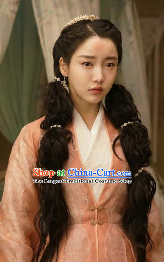 Chinese Ancient Noble Lady Lu Renyi Hanfu Dress Historical Drama Lovely Swords Girl Costume and Headpiece for Women