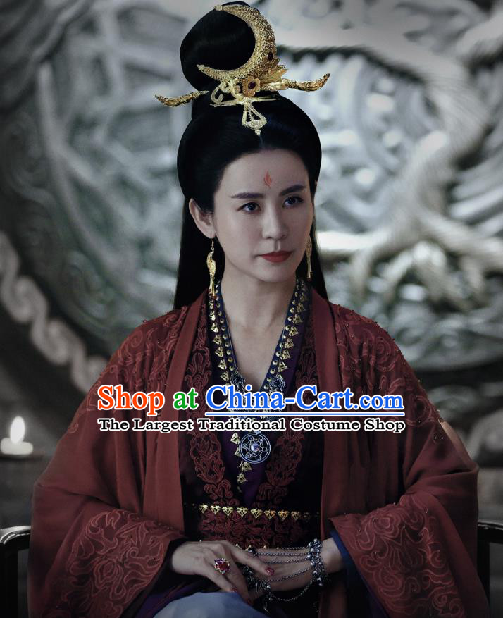 Chinese Ancient Female Hierarch Hua Lian Hanfu Dress Historical Drama Listening Snow Tower Costume and Headpiece for Women