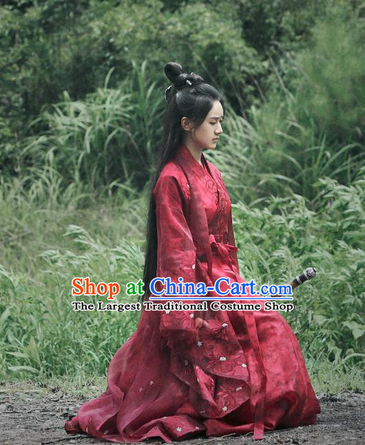Chinese Ancient Demon Swordsman Shu Jingrong Red Hanfu Dress Historical Drama Listening Snow Tower Costume and Headpiece for Women