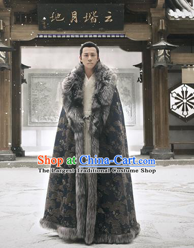 Chinese Ancient Swordsman Xiao Yiqing Drama Listening Snow Tower Historical Costume and Headwear for Men