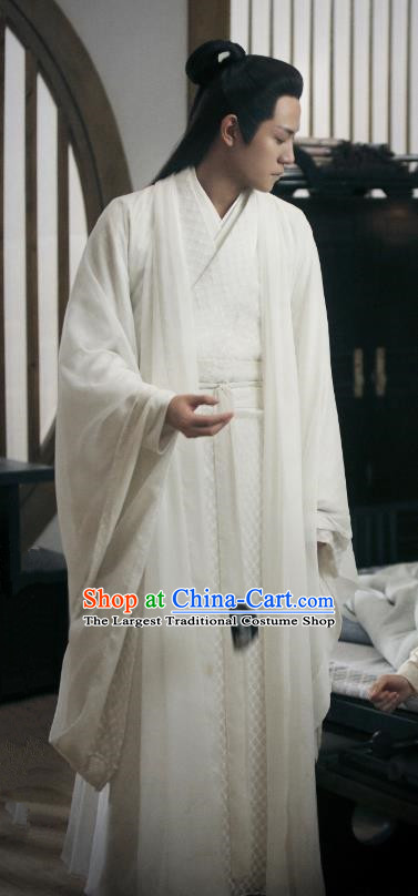 Drama Listening Snow Tower Chinese Ancient Swordsman Xiao Yiqing White Historical Costume and Headwear for Men