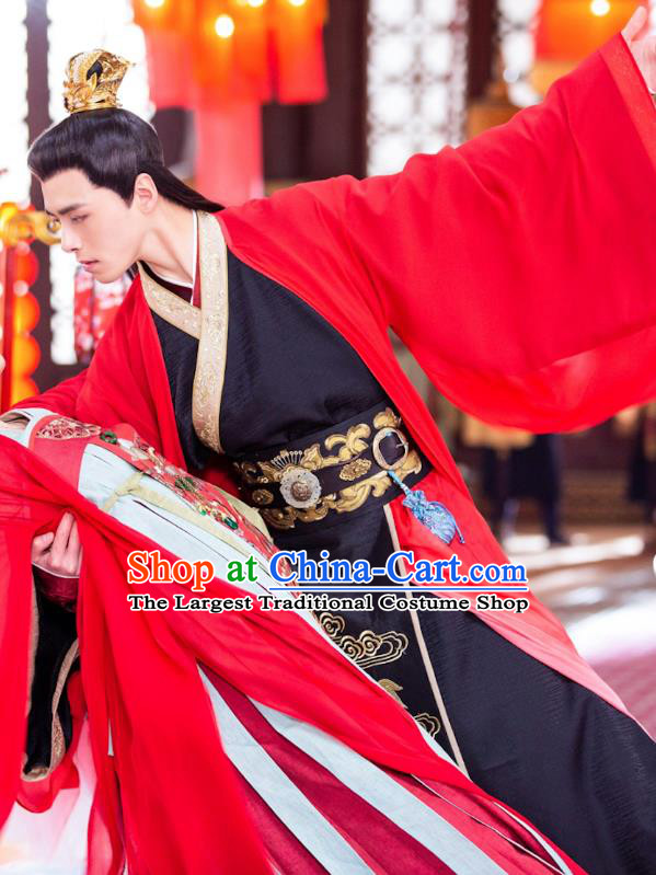 Chinese Drama The Love By Hypnotic Ancient Prince Li Qian Wedding Historical Costume and Headwear for Men