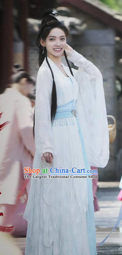 Chinese Ancient Demon Female Swordsman Chi Xiaotai White Hanfu Dress Historical Drama Listening Snow Tower Costume and Headpiece for Women