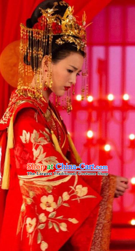 Chinese Ancient Princess Consort Qiao Huixin Wedding Hanfu Dress Historical Drama The Love By Hypnotic Costume and Headpiece for Women
