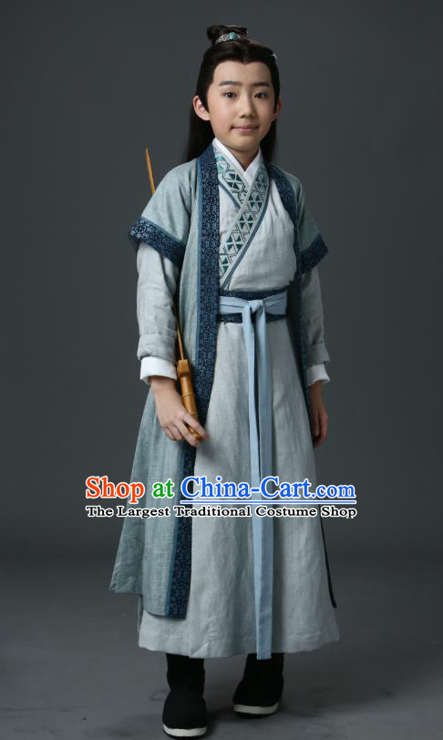 Listening Snow Tower Chinese Historical Drama Ancient Swordsman Qing Yu Costume and Headwear for Kids