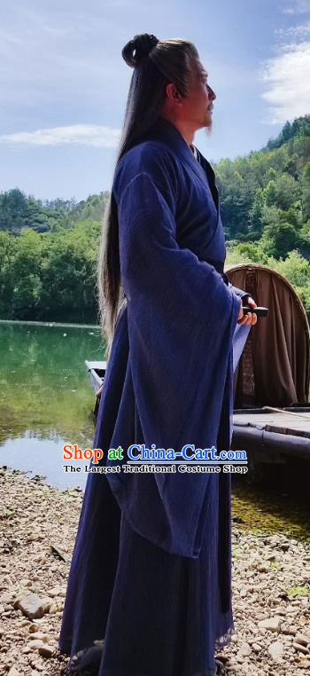 Listening Snow Tower Chinese Historical Drama Ancient Swordsman Cang Lang Costume and Headwear for Men