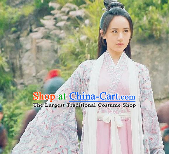 Chinese Ancient Demon Swordsman Shu Jingrong Pink Hanfu Dress Historical Drama Listening Snow Tower Costume and Headpiece for Women