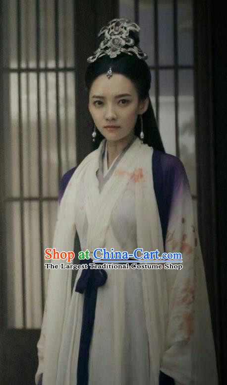 Chinese Ancient Demon Swordsman Chi Xiaotai Hanfu Dress Historical Drama Listening Snow Tower Costume and Headpiece for Women