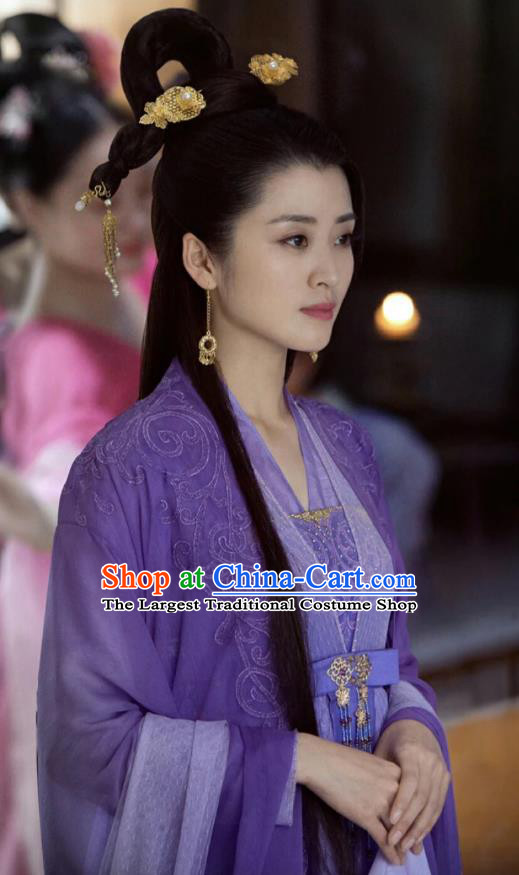 Chinese Ancient Female Swordsman Zi Mo Purple Hanfu Dress Historical Drama Listening Snow Tower Costume and Headpiece for Women
