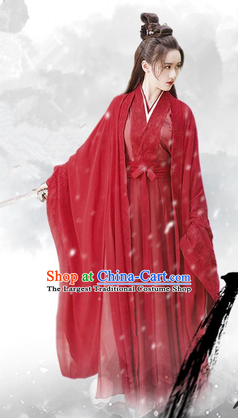 Chinese Ancient Female Swordsman Shu Jingrong Red Hanfu Dress Historical Drama Listening Snow Tower Costume and Headpiece for Women