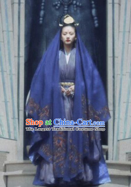 Chinese Ancient Swordsman Princess Ming He Hanfu Dress Historical Drama Listening Snow Tower Costume and Headpiece for Women