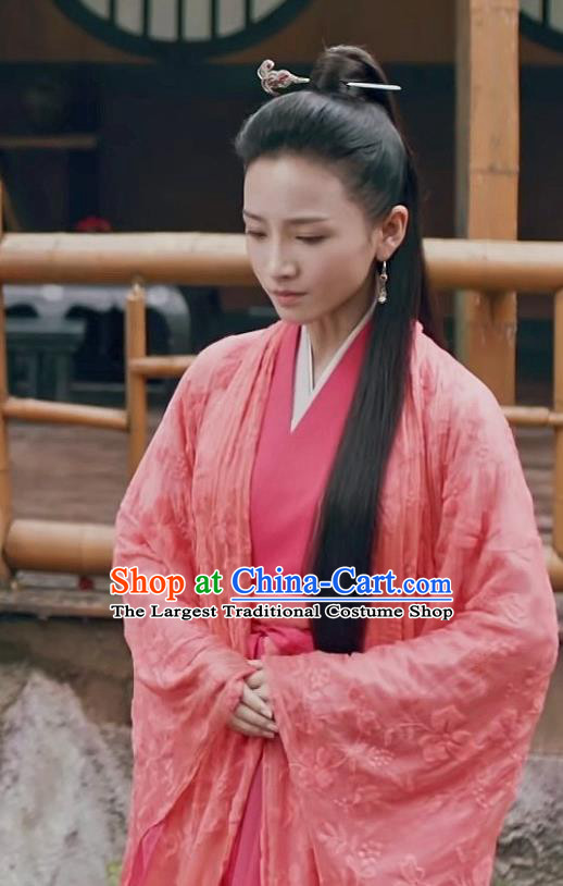 Chinese Ancient Swordsman Ye Huo Hanfu Dress Historical Drama Listening Snow Tower Costume and Headpiece for Women