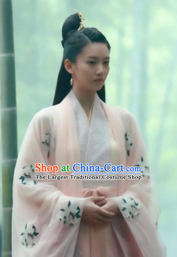 Chinese Ancient Female Swordsman Ye Huo Hanfu Dress Historical Drama Listening Snow Tower Costume and Headpiece for Women