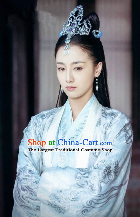 Chinese Historical Drama Ancient Swordsman Hostess Shangguan Xi Hanfu Dress Under the Power Costume and Headpiece for Women