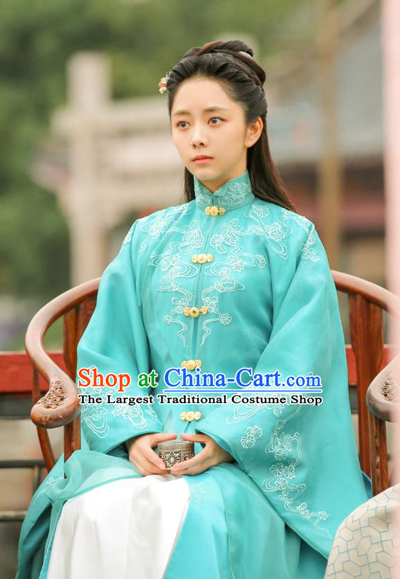 Chinese Historical Drama Ancient Ming Dynasty Noble Lady Yuan Jinxia Hanfu Dress Under the Power Costume and Headpiece for Women