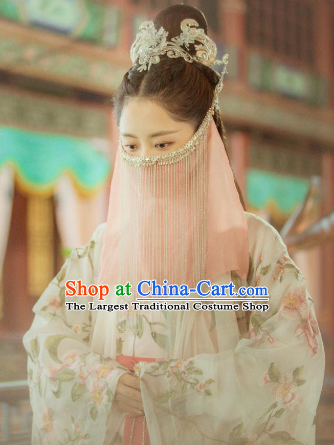 Chinese Historical Drama Ancient Ming Dynasty Courtesan Yuan Jinxia Hanfu Dress Under the Power Costume and Headpiece for Women
