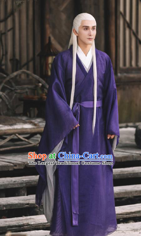 Chinese Ancient Emperor of the Heaven Clan Drama Sansheng Sanshi Pillow Eternal Love of Dream Dong Hua Costume and Headpiece Complete Set