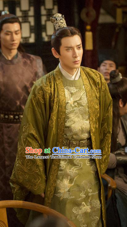 Drama Under the Power Chinese Ancient Ming Dynasty Assistant Minister Yan Shifan Costume and Headpiece Complete Set
