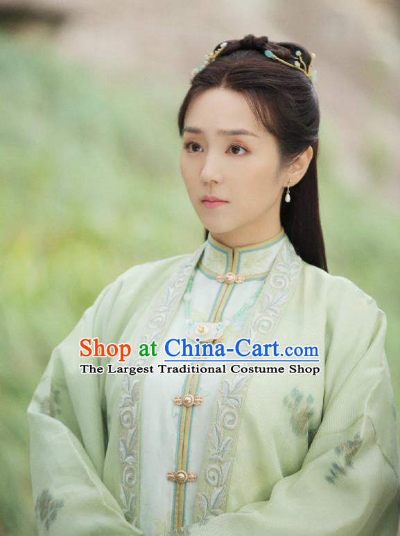Chinese Ancient Ming Dynasty Female Physician Ling Ling Green Dress Drama Under the Power Costume and Headpiece for Women