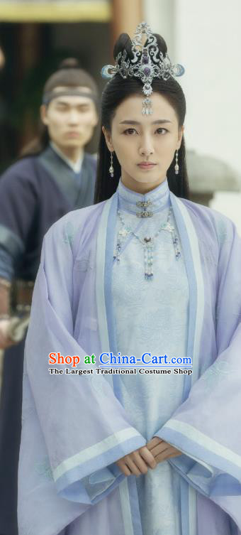 Chinese Ancient Ming Dynasty Female Swordsman Shangguan Xi Purple Dress Drama Under the Power Costume and Headpiece for Women