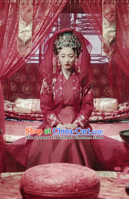 Chinese Ancient Ming Dynasty Wedding Red Dress Drama Under the Power Shangguan Xi Costume and Headpiece for Women