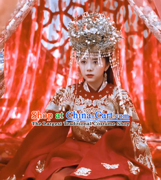 Chinese Ancient Ming Dynasty Bride Wedding Red Dress Drama Under the Power Yuan Jinxia Costume and Headpiece for Women