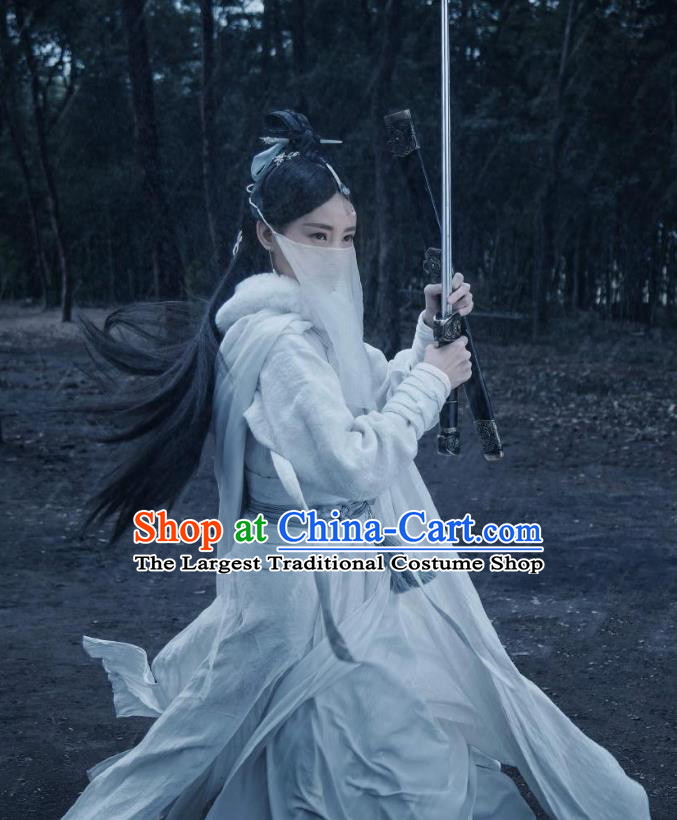 Chinese Ancient Female Swordsman White Dress Historical Drama Sword Dynasty Zhangsun Qianxue Costume and Headpiece for Women