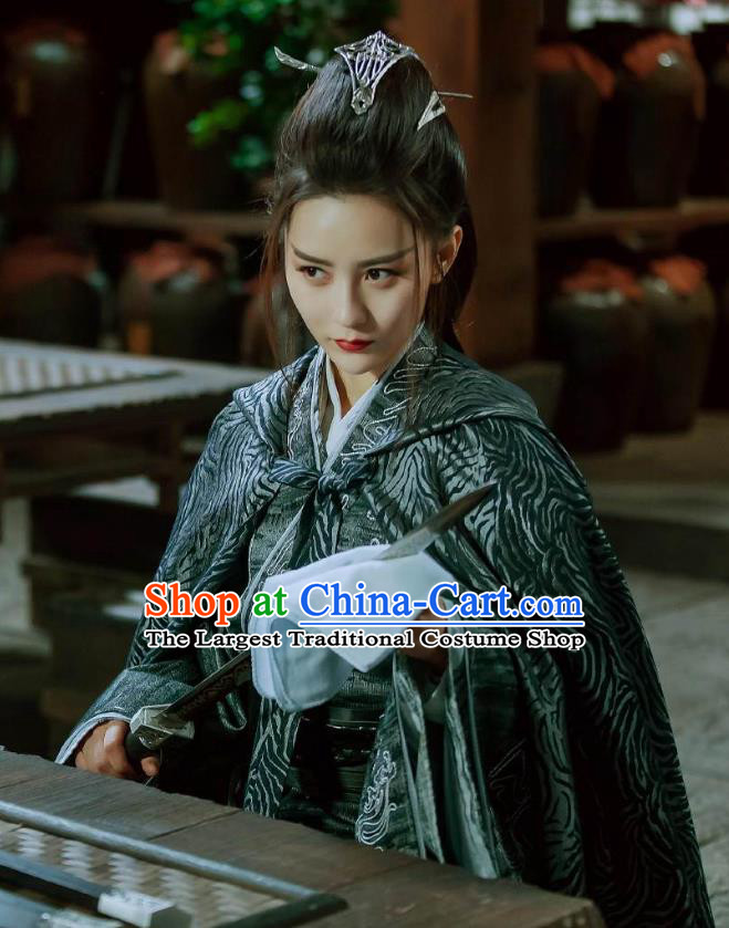 Chinese Ancient Priestess Female Swordsman Ye Celeng Dress Historical Drama Sword Dynasty Costume and Headpiece for Women