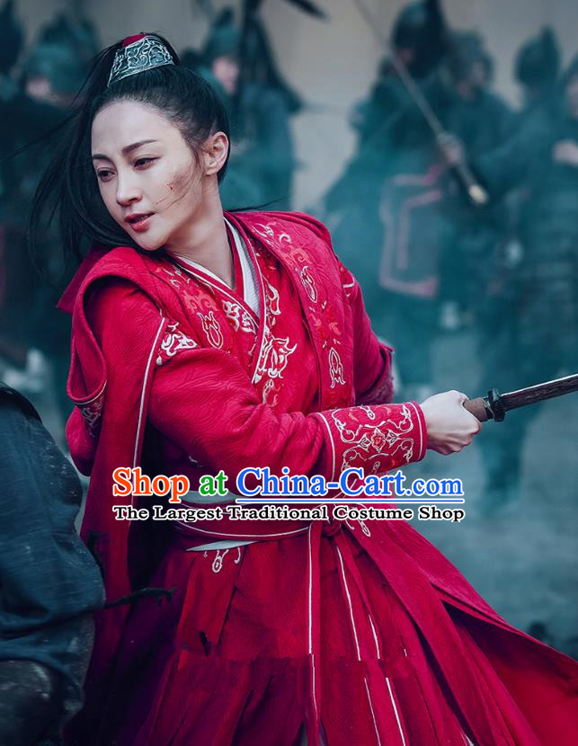 Chinese Ancient Female Swordsman Ye Zhen Red Dress Historical Drama Sword Dynasty Costume and Headpiece for Women