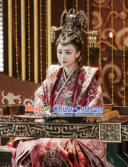 Chinese Ancient Empress Ye Zhen Red Dress Historical Drama Sword Dynasty Yao Di Costume and Headpiece for Women